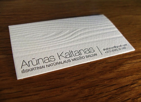 Letterpressed wood business card