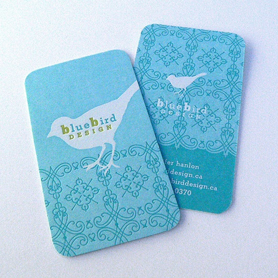 Heavily illustrated business cards from Blue Bird