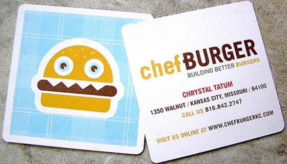 Square cards from Chef Burger