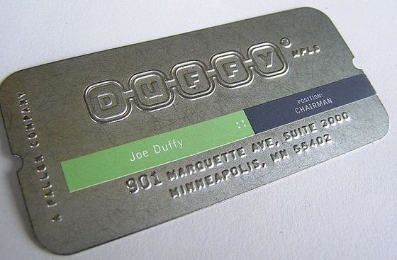 Metal business cards for Duffy