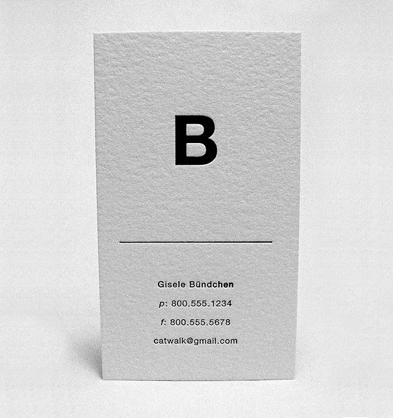 Minimal business card by Gisele Bundchen