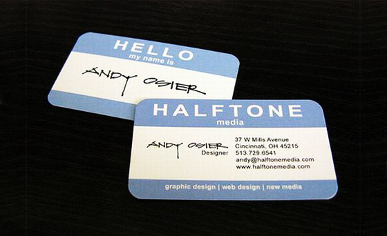Halftone business card