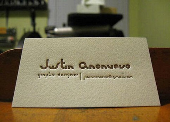 Elegant letterpress business card from Justin Anonuevo