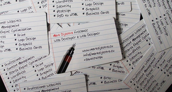 Written business cards