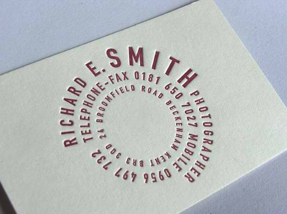 Beautiful letterpress business cards by Richard Smith