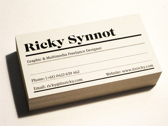 Business card of Ricky Synnot