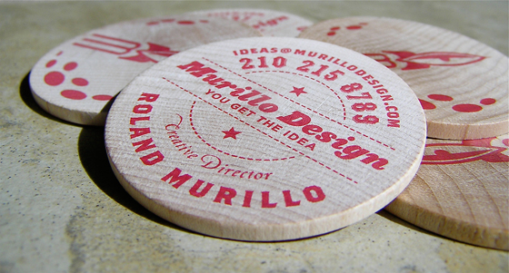 Wooden discs business cards