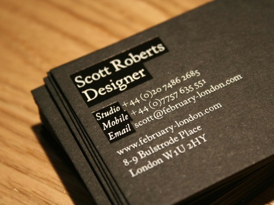 February London business card