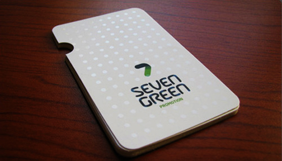 Seven green business cards