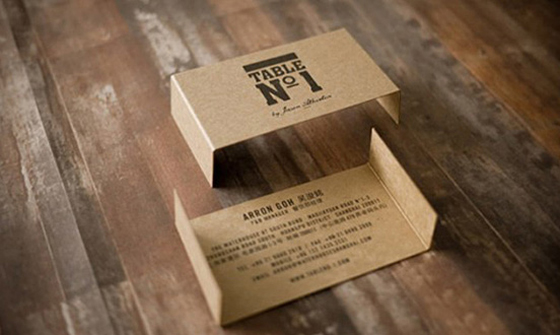Table shaped business card
