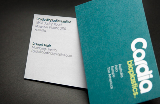 Cardia Bioplastics business card