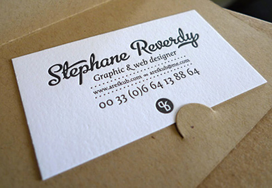 Business cards of Stephane Reverdy