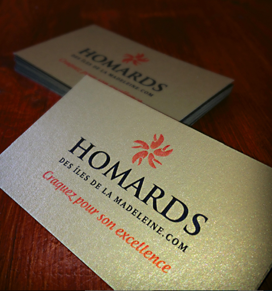 Gold business card for a luxury item