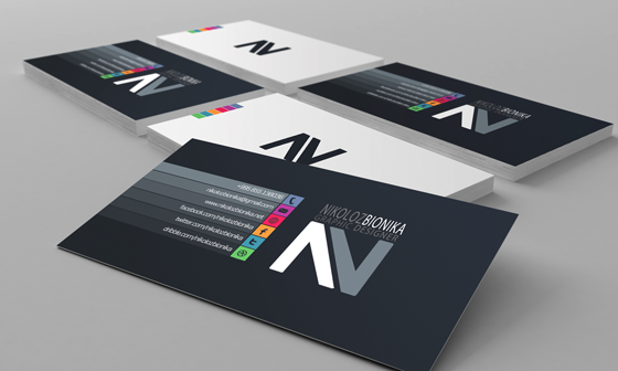 Business cards of Nikoloz Bionika