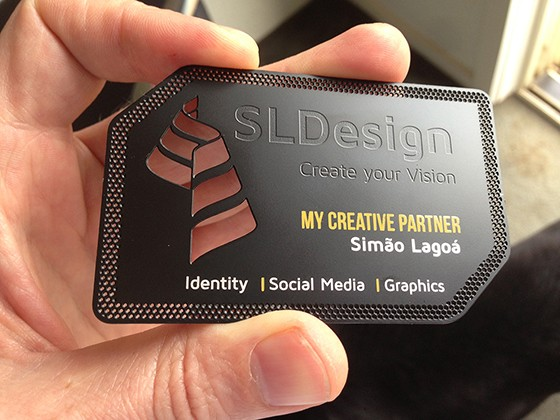 SLDesign Black Metal Business Cards