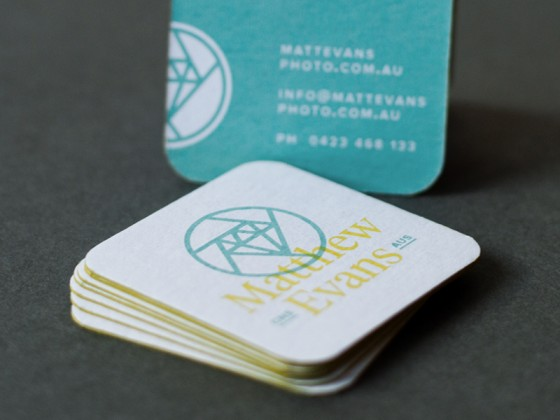 The business cards of Matthew Evans