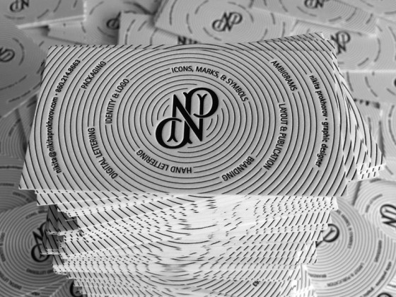 The business cards of Nikita Prokhorov