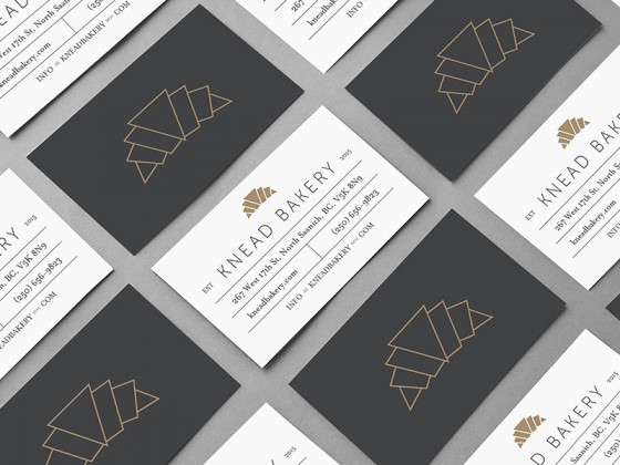 Business cards of the Knead Bakery