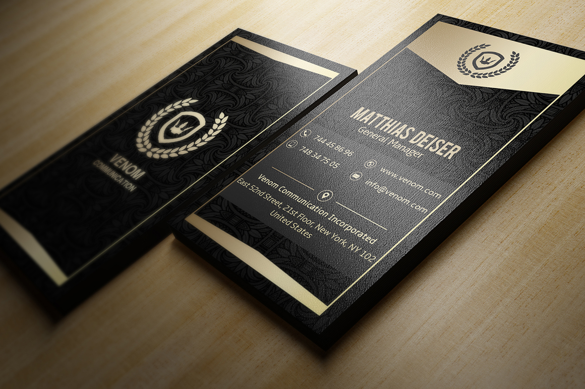 Gold & Black business card template inspiration CardFaves