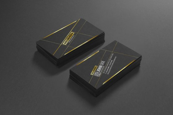 Golden typography business card template
