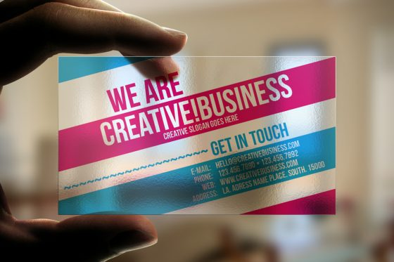 Transparent plastic business card template