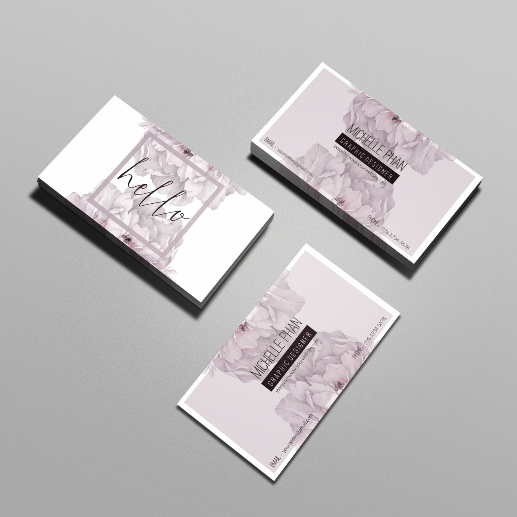 floral template business card