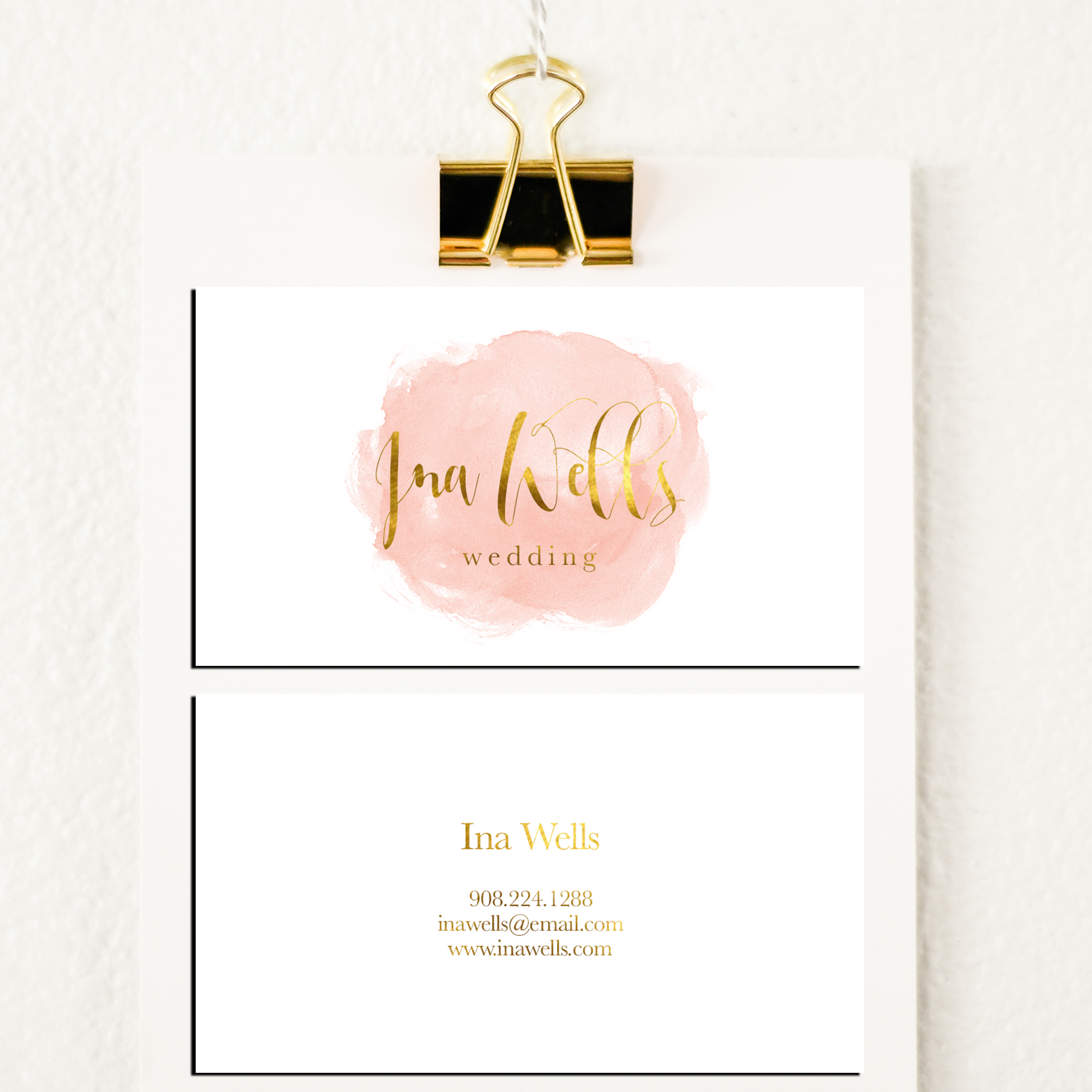 Watercolour wedding business card template inspiration - CardFaves
