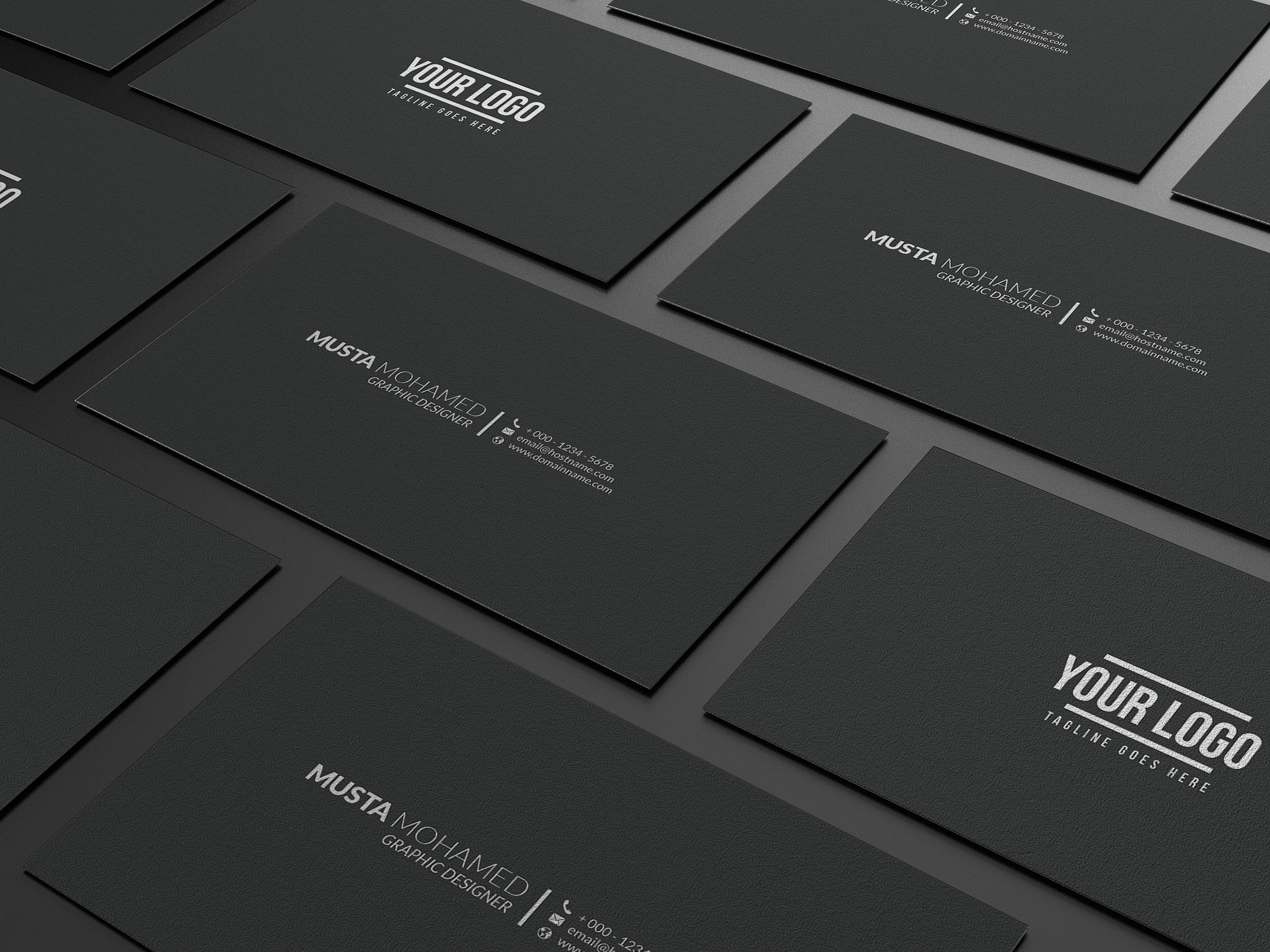 Clean Black Minimal Business Card Template