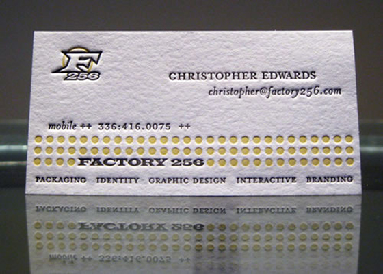 embossed business card