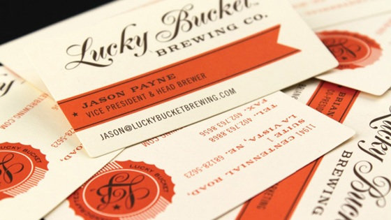 lucky bucket brewing business card